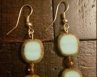 Seagreen and Amber dangle earrings