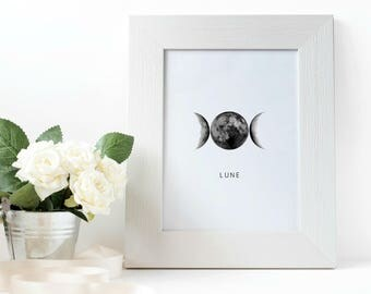 Moon Phases Print, Moon Print, Moon Poster, Lune Print, La Lune Print, Luna Print, Scandinavian Print, Moon Wall Art,  Nordic Print