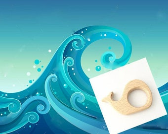 Little whale natural wood teething ring