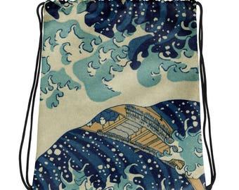 On Sale! Great Wave of Kanagawa, Hokusai - Drawstring bag
