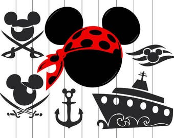 INSTANT DOWNLOAD - Pirate Mickey Svg, Pirate Mickey Clipart, Mouse Ears Pirate Svg Files, Pirate Cut File , Mouse Ears Pirate, Mouse Pirate