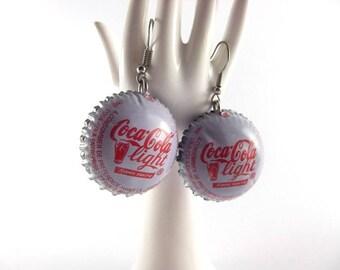 Drink bottle cap earrings