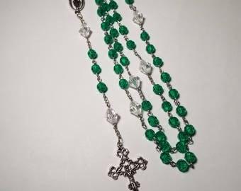 Handmade Catholic Rosary Emerald Green Prayer Beads