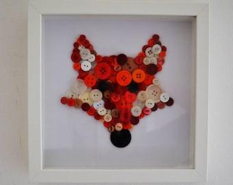 Fox Button Art, Button Fox, Button Art