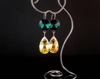 Emerald and Crystal AB Swarovski dangle earrings