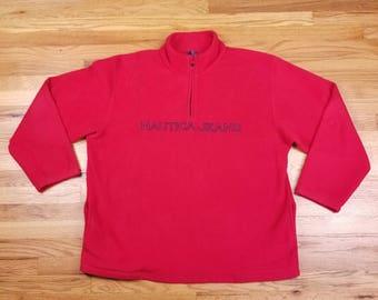 Vintage 90s Nautica Jeans Red Fleece Jacket Size XL
