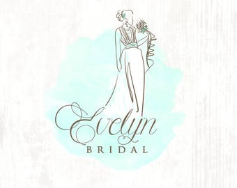 Wedding & Bridal Couture Hand drawn Premade Logo Design