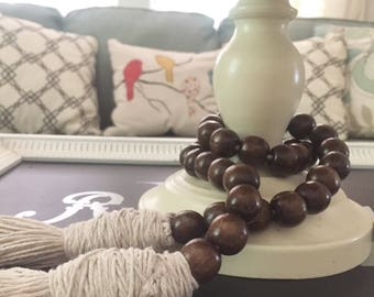 Wood Bead Garland, famhouse beads