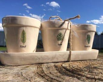 "Rae Dunn ""Plant Grow Flourish"" Planting Pots"