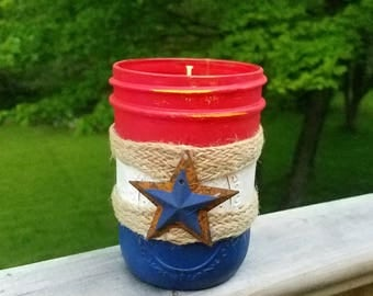 Citronella Candles Rustic - Home Decor - Outdoor Candle - Red White and Blue Candle - Patriotic Citronella Candle