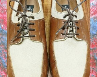 Vintage J. Peterman Canvas and Leather Lace Up Oxford shoes 9B