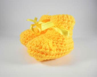 Baby Booties, Baby Shoes, Crocheted Baby Shoes, Crocheted Baby Booties, Yellow Baby Shoes, Yellow Crocheted Booties