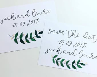 Save The Date Cards - Hand Painted Wedding Stationery - Mr and Mrs