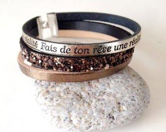 diy Kit bracelet to achieve self same faux leather make your dream brown tone