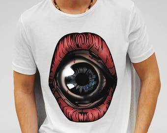 Mens Surreal Horror Eyeball Mouth - White T-shirt