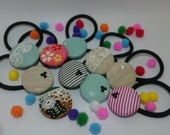 Kawaii 100% Handmade Button Hair Tie
