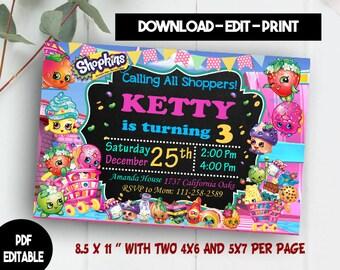 Shopkins Invitation, Shopkins Birthday, Shopkins Birthday Party, Shopkins Party, Shopkins Printable, Shopkins Editable, Shopkin PDF Editable