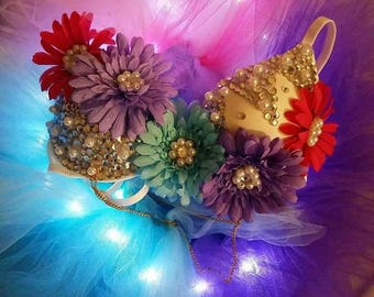 Floral bra with light up full tutu in pink purple white and turquoise
