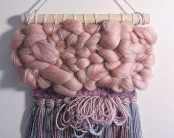 "Woven Wall Hanging 'Mulberry"" ~ Weaving ~ Whimsical Décor ~ Wall Tapestry ~ Dorm Décor ~ Nursery Décor ~ Home Décor ~ Mauve & Gray"