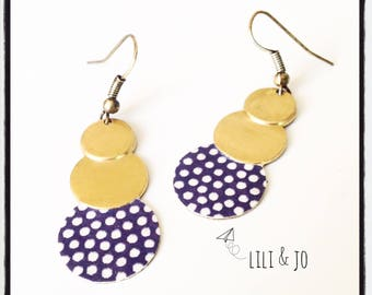 Japanese collection: Earrings 3 charcoal rounds with white polka dots