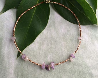 5-Part Amethyst || Crystal Choker Necklace
