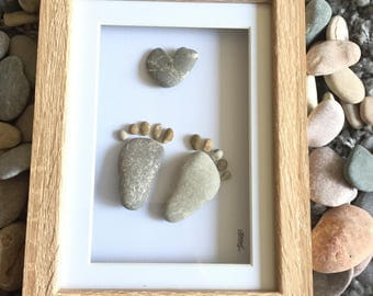 Pebble art - baby feet and heart