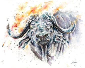 Burning Savanna Buffalo African Original Watercolor Painting High Quality Giclée PRINTcanvas home decor office nursery animal art gift