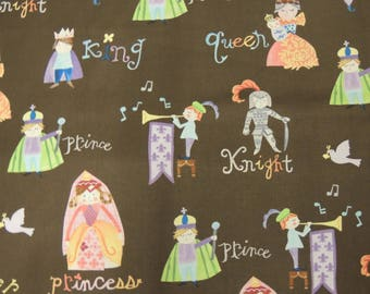 Windham Fabrics pattern Brown background Knights and princesses fabric coupon