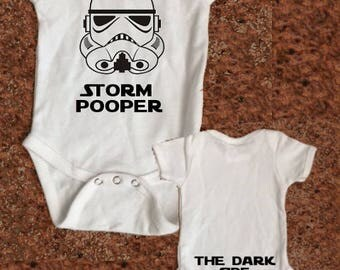 Star Wars Baby Creeper- Storm Pooper - The Dark Side Star Wars Shirt - Storm Trooper Body Suit - The Empire Strikes Back