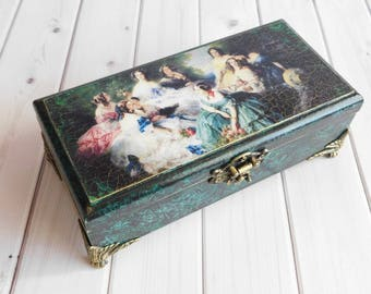Malachite box, jewelry box, wooden box, gift for girl, decoupage box, for her