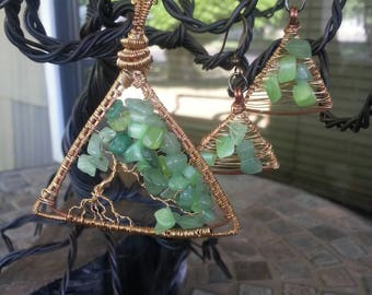 Triangle Tree of Life Pendant and earring set handmade wire wrapped jewelry