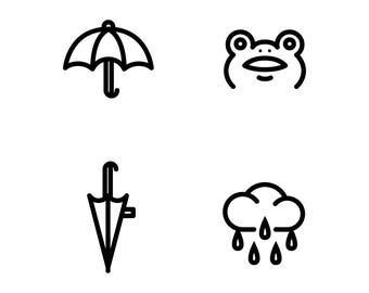 Rainy season black line icons set , feature umbrella cloudy and cute frog
