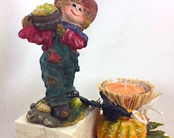 Scarecrow Decorative Wood Candleholder with Soy Candles, Autumn/Halloween Decorative Table Centerpiece