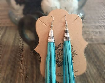 Turquoise Leather Tassel Earrings/ Leather jewelry/ Leather earrings/ Handmade Tassel Earrings