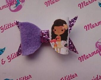 Moana glitter hair bows