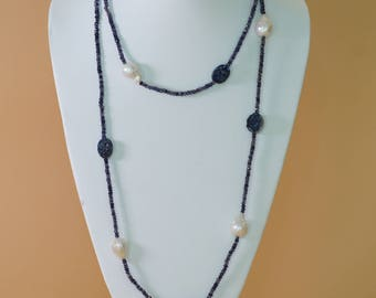 Pearl Necklace with Blue Iolite and Druzy Accents