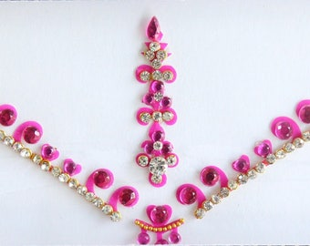 Dark Pink Bridal Forehead Bindi Stickers, Bindis,Dark Pink Wedding Bindis,Bollywood Bindi,Long Pink Bindis,Self Adhesive Stickers