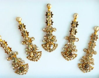 5 Straight Gold Long Bindis,Bridal Long Bindis Sticker,Stone Bindi,Gold Bindis Face Jewels Bindis,Silver Bindis,Body Art Glittery Bindi