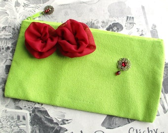 CHEAP discontinued - Case lime green make up, retro, vintage and romantic - 100% cotton, customized with red flowers.