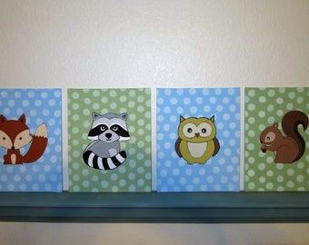 Woodland Animals Nursery Decor Paintings - Set of 4 - Fox, Raccoon, Owl, Squirrel - Hand Painted Wall Decor - Nursery Art - Forrest Critters
