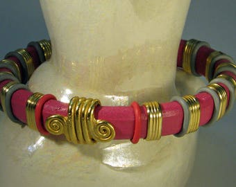 Deep Pink Leather Bangle Bracelet