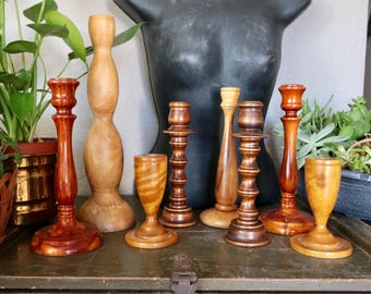 Set of 8 Wood Candleholder, Candle Holder Collection, Brown, Beige