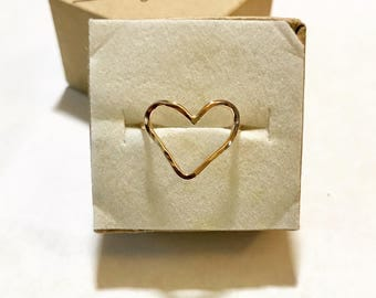 Heart Ring, Sterling Silver Heart Ring, Open Heart Ring, Gold Heart Ring, Rose Gold Heart Ring, Love Ring, Valentines Day Ring
