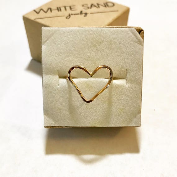 Heart Ring Sterling Silver Heart Ring Open Heart Ring Gold