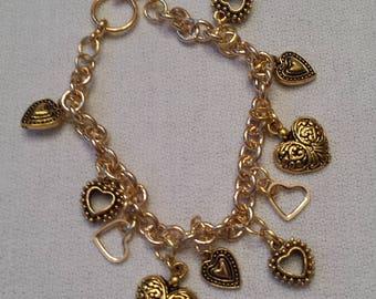 Gold Hearts Charm Bracelet