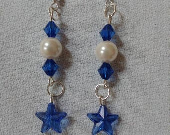 Pearl & Blue Bead Earrings