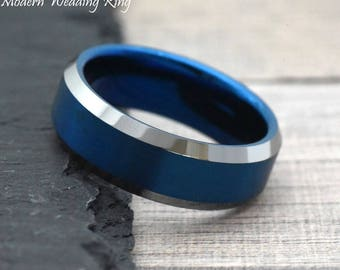 Mens Wedding Band Blue, Blue Wedding Band Mens, Unique Two Tone Wedding Ring, Blue Ring for Men, Men's Blue Ring Band, Laser Engraving