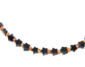 Chain agate necklace star black with carnelian beads Orange Silver 925