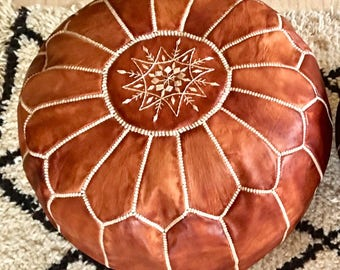 Moroccan Pouf natural  Leather pouf floor pouf Leather Ottoman  Moroccan Ottoman  BROWN pouf