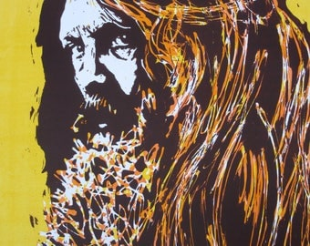 Portrait of the artist Alan Moore, Acrylics, 39.8 x 46.7 cm, poster artwork comic watchmen v for vendetta face poster cartoon yellow icon